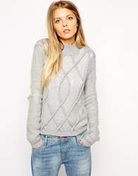 Asos Sheer Jumper With 3D Cable Detail And Turtle Neck Grey