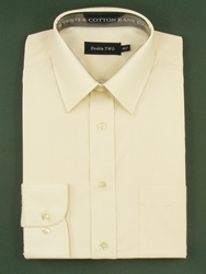 Double Two King Size Classic Plain Long Sleeve Shirt Cream