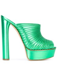 Casadei Ope Toe Platform Sandals Women Leather Kid Leather 41 Green