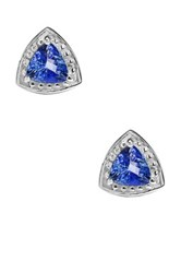 Olivia Leone Sterling Silver Tanzanite Trillion Stud Earrings Blue