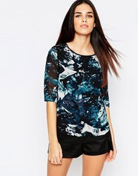 Sugarhill Boutique Evie Top In Icey Print Teal Blue