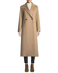 Fleurette Long Two Button Wool Coat Camel