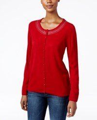Karen Scott Rhinestone Cardigan Only At Macy's Red Cherry