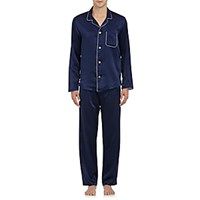 Derek Rose Men's Silk Pajama Top And Pants Navy