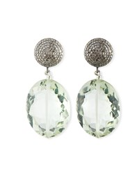 Margo Morrison Baroque Pearl Pave Diamond And Crystal Drop Earrings Green