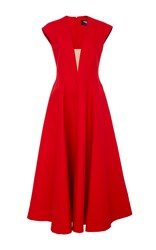Paule Ka Cap Sleeve Volumed Dress With Nude Illusion V Neck Red