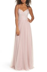 Hayley Paige Occasions Women's Embellished Bodice Net Halter Gown Dusty Rose