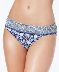 Jessica Simpson Jessic Patched Up Floral Print Foldover Bikini Bottoms Women's Swimsuit Periwinkle Multi