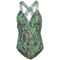 Fat Face Tropical Print Macrame Swimsuit Navy