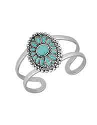 Lucky Brand Turquoise Natives Floral Turquoise Cuff Bracelet Silver