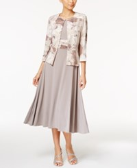 Jessica Howard Empire Waist Dress And Printed Jacket Beige