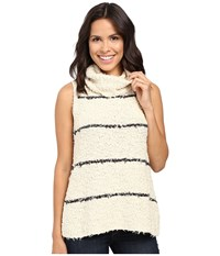 Lilla P Fringe Yarn Sleeveless Turtleneck Oat Stripe Women's Sleeveless Brown