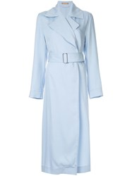 Nehera Asymmetric Hem Trench Coat Blue