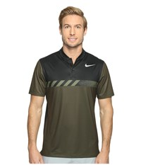 Nike Mm Fly Short Sleeve Print Polo Cargo Khaki Black Flat Silver Men's Short Sleeve Pullover