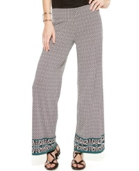Studio M Geo Print Wide Leg Pants Black Capri Green Arrow Border