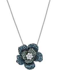 Macy's Blue And Green Diamond Flower Pendant Necklace In 14K White Gold 1 Ct. T.W.