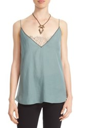 Free People Lace Inset Plunging Camisole Green