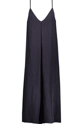 Enza Costa Pleated Voile Midi Dress Storm Blue