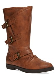 Evans Extra Wide Fit Triple Buckle Calf Boots Tan