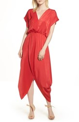 Halogen Faux Wrap Maxi Dress Red Lipstick