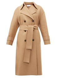Harris Wharf London Double Breasted Wool Trench Coat Camel