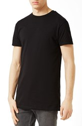 Topman Men's Muscle Fit Longline T Shirt Black