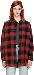 R 13 R13 Red And Black X Oversized Plaid Shirt