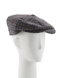 Neiman Marcus Wool Small Check Jaxon Hat Gray Pattern