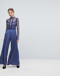 Three Floor Pleated Jumpsuit With Lace Sleeves Powder Blue