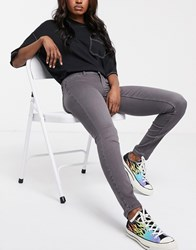 Noisy May Eve Low Rise Grey Skinny Jeans