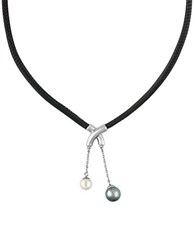 Majorica New Isla 7 9Mm Pearl And Leather Necklace Grey