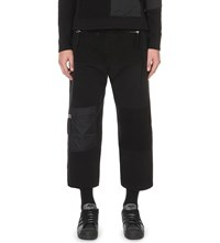 Blood Brother Breed Cropped Cotton Jersey Jogging Bottoms Black