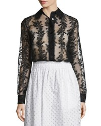Carven Long Sleeve Sheer Floral Organza Blouse Black Noir