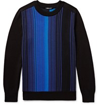 Balmain Striped Cotton Sweater Blue