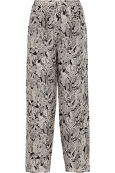 Anna Sui Printed Silk Crepe Wide Leg Pants