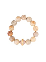 Cathy Waterman 22Kt Gold Light Fossilized Coral Wheat Overlay Bracelet Nude And Neutrals