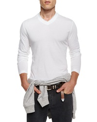 Brunello Cucinelli V Neck Long Sleeve Knit Tee White
