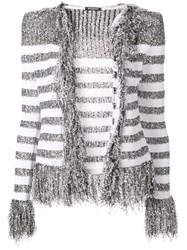 Balmain Fringed Cardigan Grey