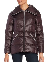 Karl Lagerfeld Quilted Puffer Coat Plum