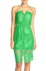 Women's Adelyn Rae Strapless Lace Sheath Dress Bright Green
