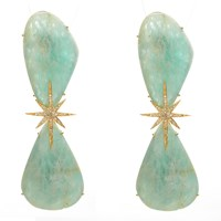 Nush Double Chrysoprase Starburst Earrings Green