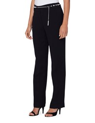 Tahari By Arthur S. Levine Petite Pearl Belt Solid Straight Leg Pants Black