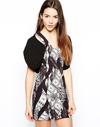 Liquorish Dress In Aztec Print Black