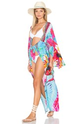 Camilla Kimono Sleeve Long Cover Up Blue