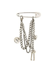 Alexander Mcqueen Safety Pin Charm Brooch Metallic