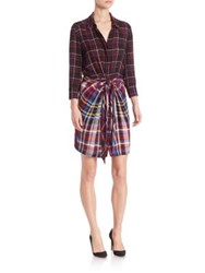 L'agence Kylie Plaid Tie Front Shirtdress Red Multi