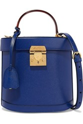 Mark Cross Benchley Textured Leather Shoulder Bag Royal Blue Gbp