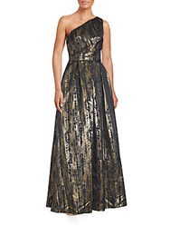 Js Collection Pleated Asymmetric Neck Gown Black Gold
