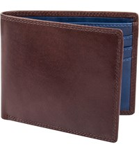 Dents Leather Contrast Trifold Wallet Chocolate Cobalt