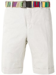 Pt01 Belted Chino Shorts Men Cotton Linen Flax 52 Nude Neutrals